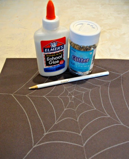 Supplies needed for sparkly glitter halloween spiderweb kids craft