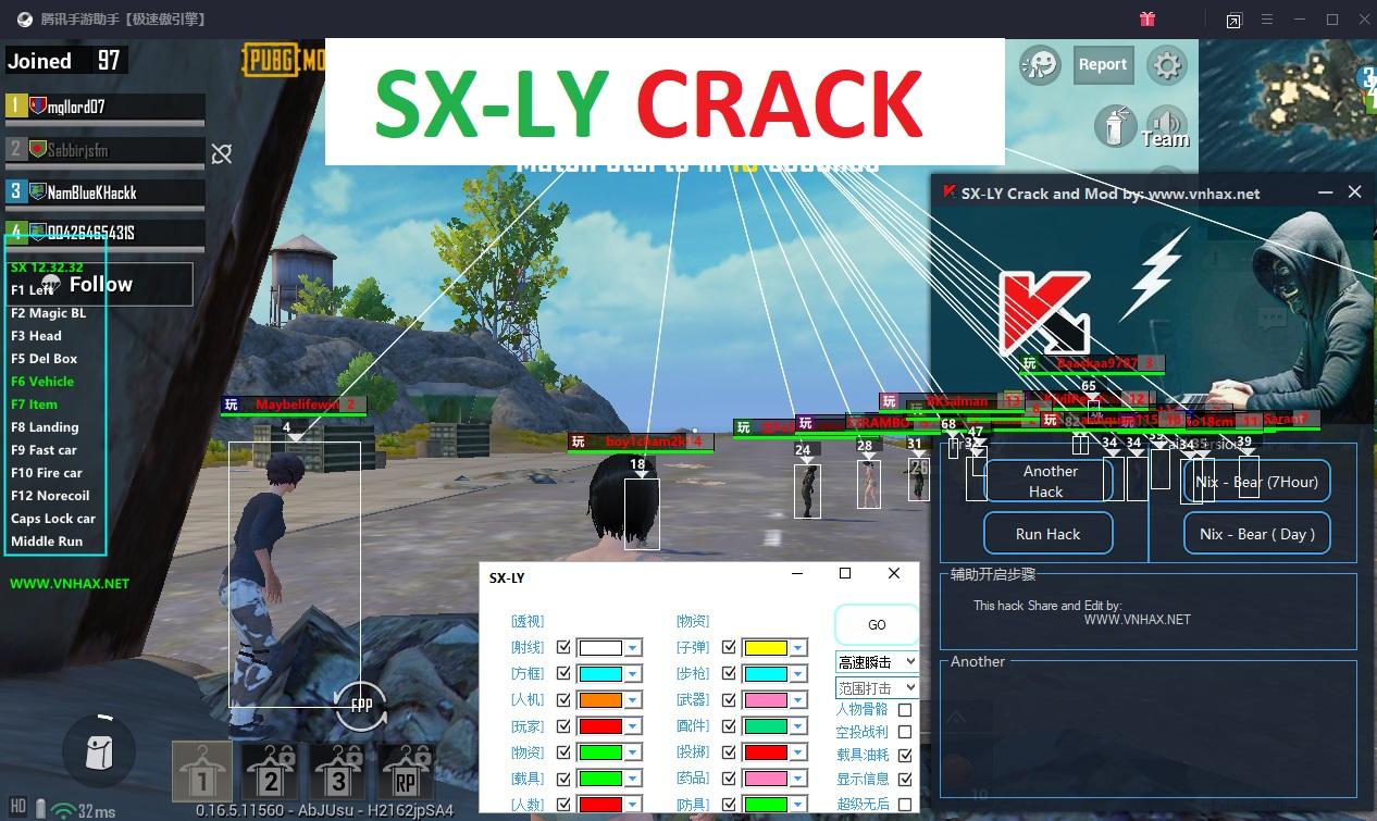 SX-LY Mod Menu English Crack Free Pubg Mobile 0.16