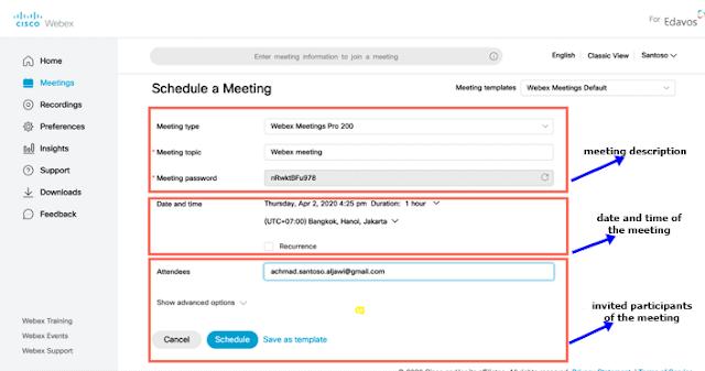Schedule Meetings webex