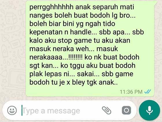 """""""Anak Menangis Separuh Mati, Laki Syok Layan Mobile Legends Jahanam Tu.."""""""