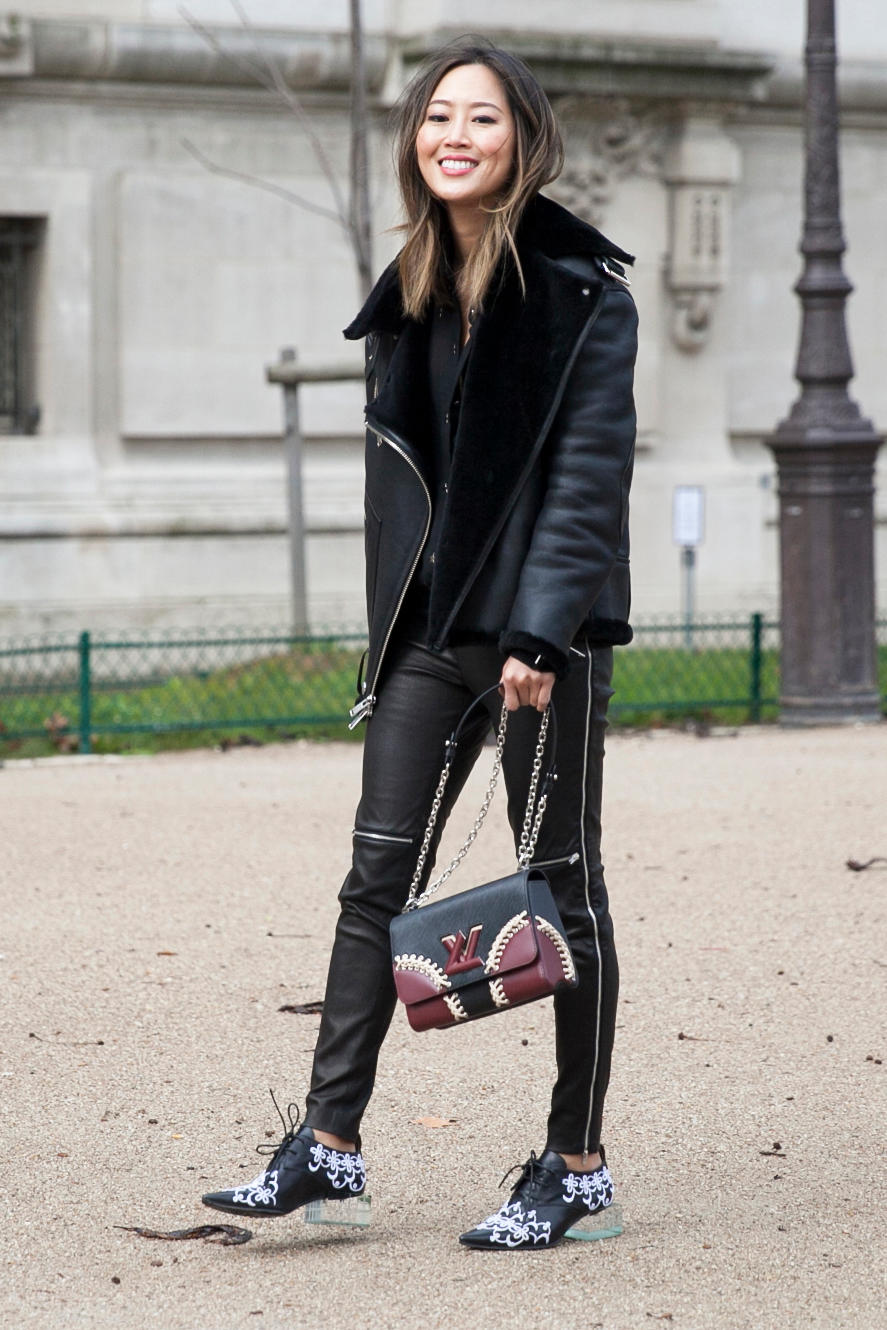 Aimee Song On the street at Paris Fashion Week. Photo: Emily Malan/Fashionista.