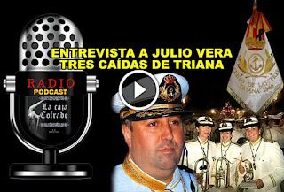 Julio Vera Cuder director de Tres Caidas de Triana y las tres primeras mujeres musicos de la Banda