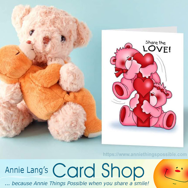 Get your bear hugs and seasonal greeting cards by Annie Lang at anniethingspossible.com