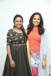 Actress Suma in Black Salwar Suit and Anusuya in orange Dress at winner movie press meet part 1 February 2017 (55).JPG