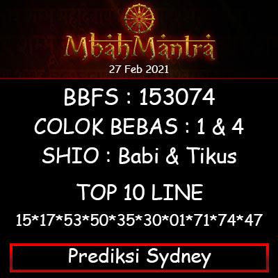 Prediksi Angka Sydney 27 Februari 2021