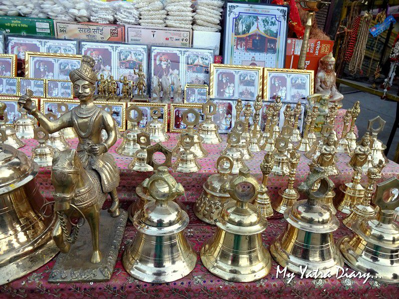 Shops selling bells at Chitai Golu Devta Temple Almora Uttarakhand