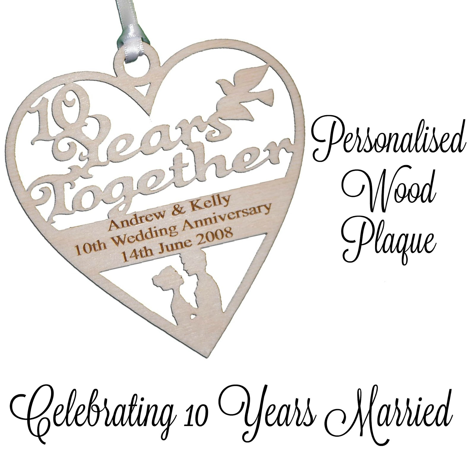 a 10th anniversary wood plaque