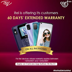 itel mobiles with 2 months extra warranty