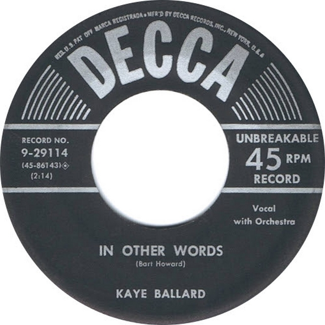 In other words. Kaye Ballard. Single