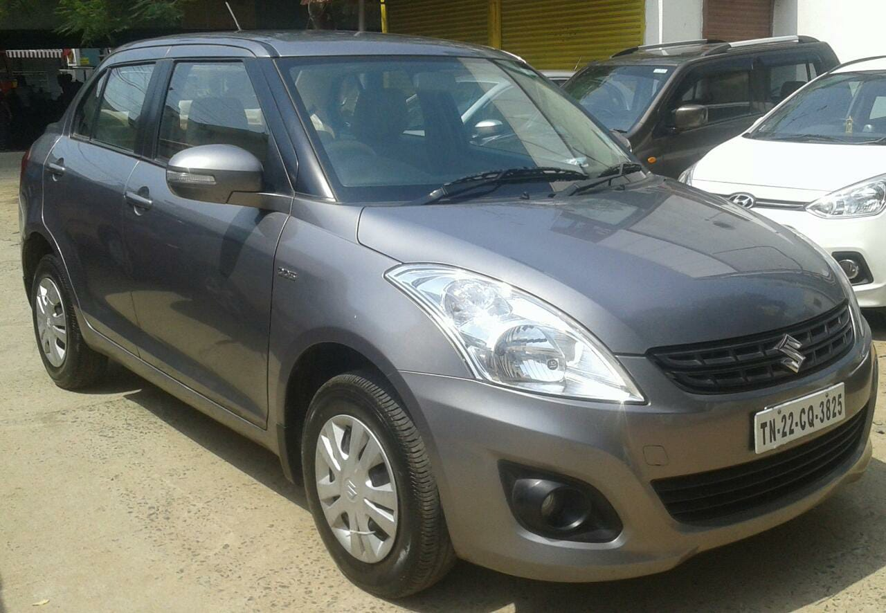 Maruti swift dzire vdi 2014 grey color single owner 43000 kms remote central locking in built music system with remote good quality tyre condition high