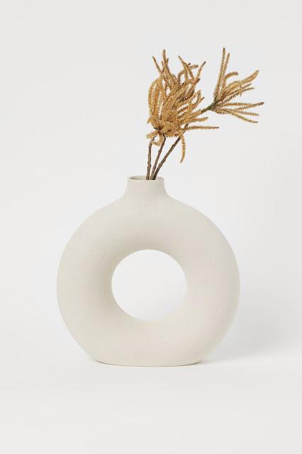 white modern donut vase