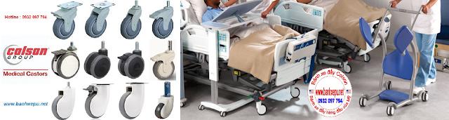 Bánh xe đẩy y tế giường bệnh xe tiêm cấp thuốc Colson www.banhxepu.net
