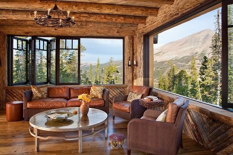 Niesamowity dom z bali w Montanie, wystrój wnętrz, wnętrza, urządzanie domu, dekoracje wnętrz, aranżacja wnętrz, inspiracje wnętrz,interior design , dom i wnętrze, aranżacja mieszkania, modne wnętrza, styl klasyczny, styl rustykalny, dom drewniany, chata w górach, salon