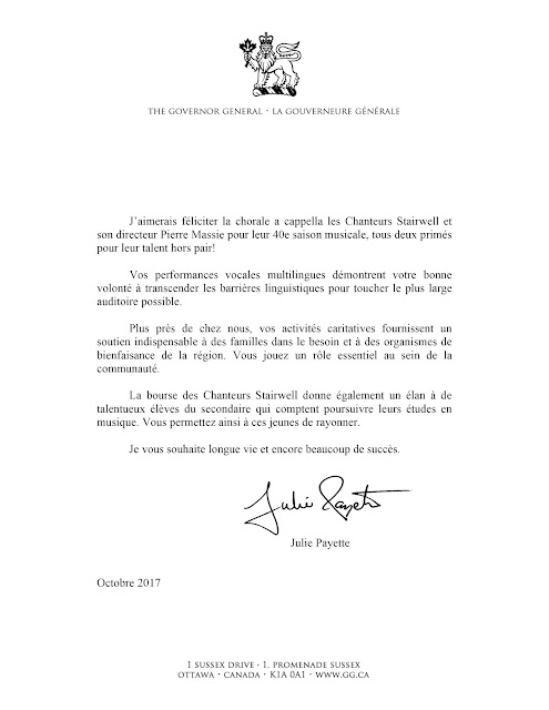 Governor General's congratulatory letter to the Stairwell Carollers (French)