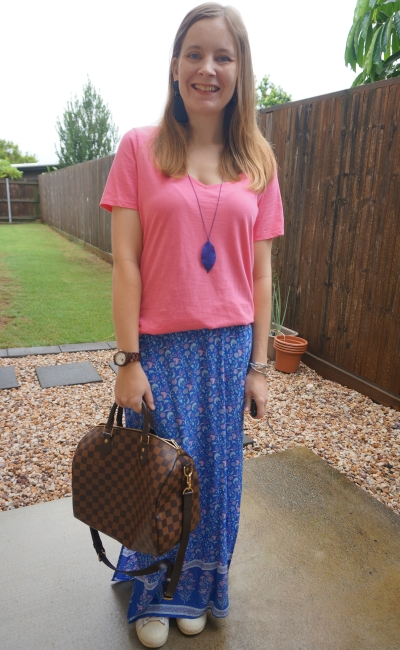 pink tee and floral print navy maxi skirt with Adidas superstar sneakers and Louis Vuitton speedy bandouliere | away from blue