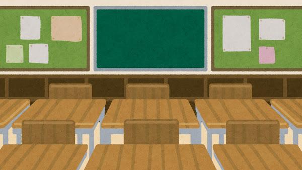学校の教室の後ろのイラスト(背景素材)
