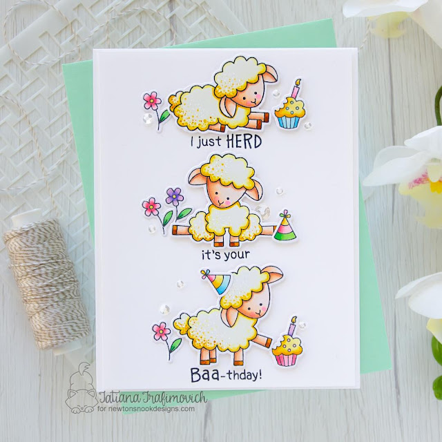 Sheep Birthday card by Tatiana Trafimovich | Baa Stamp Set and Bleat Stamp Set by Newton's Nook Designs #newtonsnook #handmad