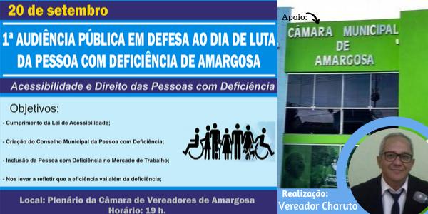 AMARGOSA: 1ª AUDIÊNCIA PÚBLICA EM DEFESA AO DIA DE LUTA DA PESSOA COM DEFICIÊNCIA