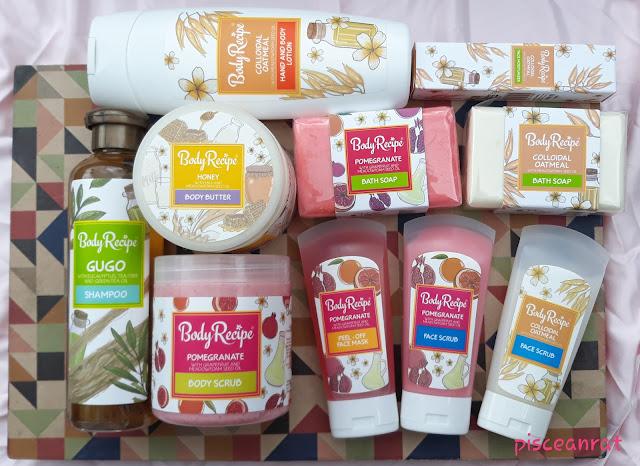Body Recipe Gugo Shampoo; Colloidal Oatmeal  hand and body lotion, face moisturizer, bath soap, face scrub; Pomegranante bath soap, body scrub, face scrub, peel off mask, Honey body butter.