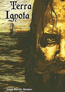 Portada de 'Terra Ignota'. Dibujo en tonos café de un hombre con barba situado frente a un barco que mira serio al lector.