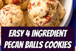 Easy 4 Ingredient Pecan Balls Cookies Recipe #cookies #snacks #appetizers #gameday #treats #easycookies