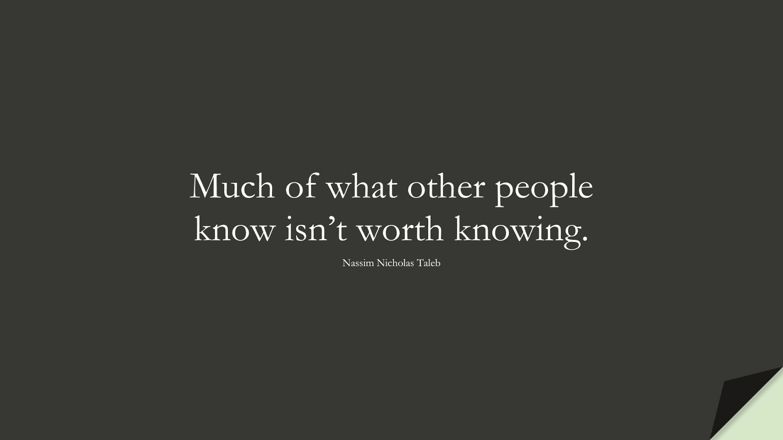 Much of what other people know isn't worth knowing. (Nassim Nicholas Taleb);  #StoicQuotes