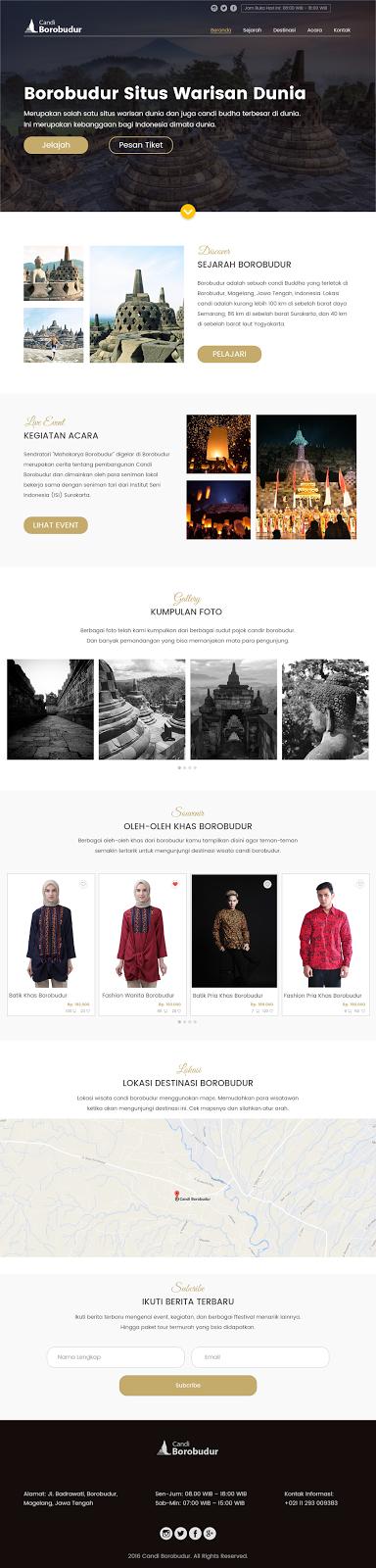 Adobe XD - Konsep Website Candi Borobudur - Ekuiva