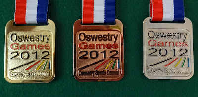 Medals from the Oswestry Games in 2012