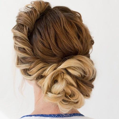 asymmetrical, elegant updos for long hair, french