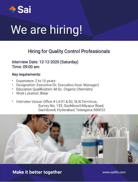 Sai Life Sciences Ltd WalkIn Interviews for Quality Control Professionals on 12th Dec 202