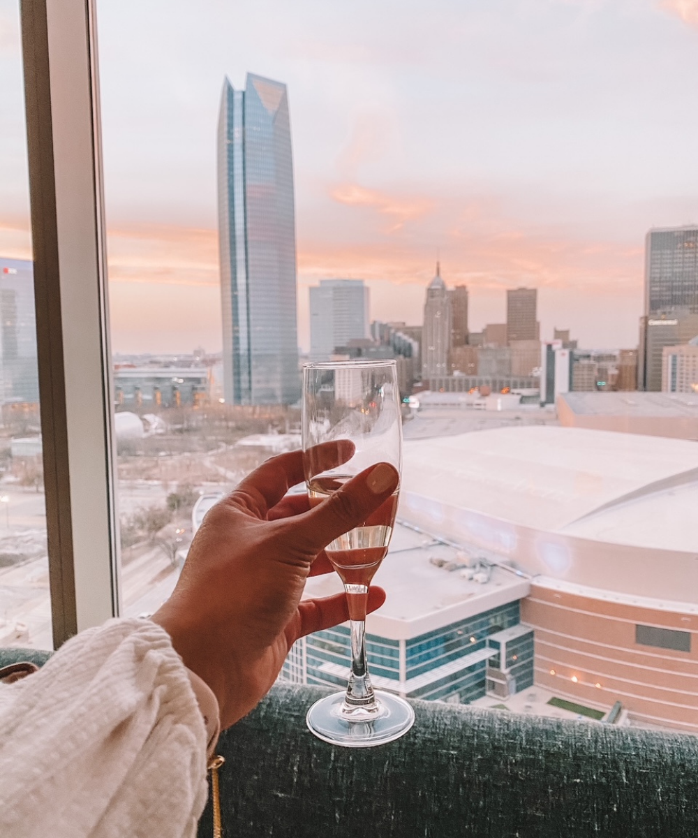 Cheers to the Oklahoma City skyline view from the Omni OKC