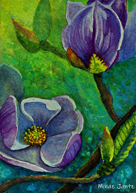 Purple Magnolia Blossom by Minaz Jantz (Watercolor)