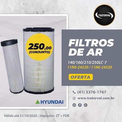 filtro escavadeira hyundai 11N6-24520 11N6-24530