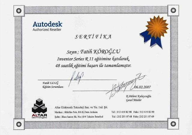 Protas Arge firma sahibi Fatih Köroğlu'na ait Autodeks sertifikası