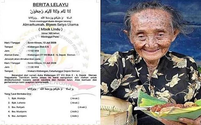 Mbah Lindu Penjual Gudeg Legendaris di Yogyakarta Meninggal di Usia 100 Tahun