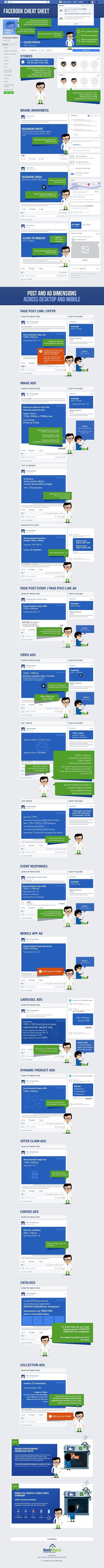 The Complete Facebook Image Sizes and Ad Dimensions Cheatsheet (2020) #Infographic