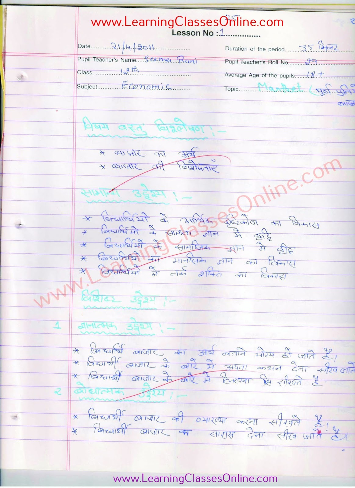 real teaching economics lesson plan in hindi on market