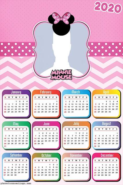 Minnie en Rosa: Calendario 2020 para Imprimir Gratis.
