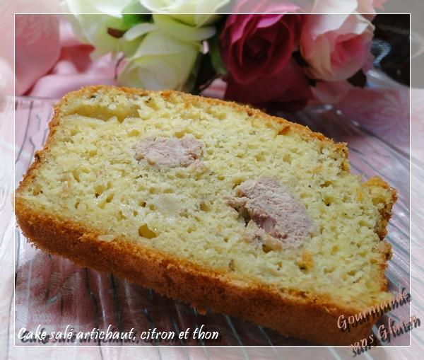 Cake salé artichaut, citron et thon à la farine de pois chiches