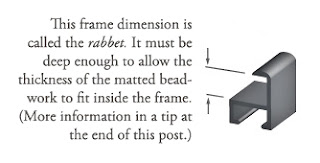 how to frame bead embroidery, cross-section of metal frame, rabbet