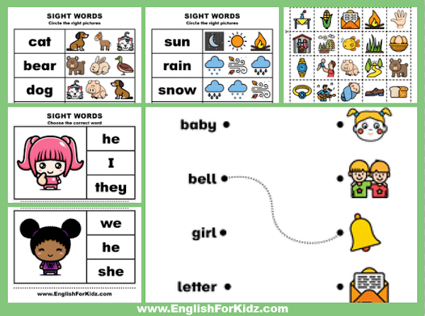 Free printable sight words worksheets