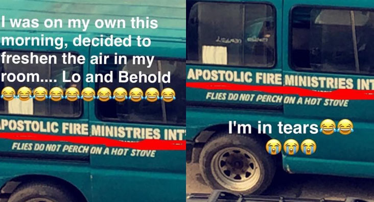 Check out the hilarious inscription on this missionary bus
