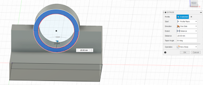 extruding, make sure the distance is 20 mm