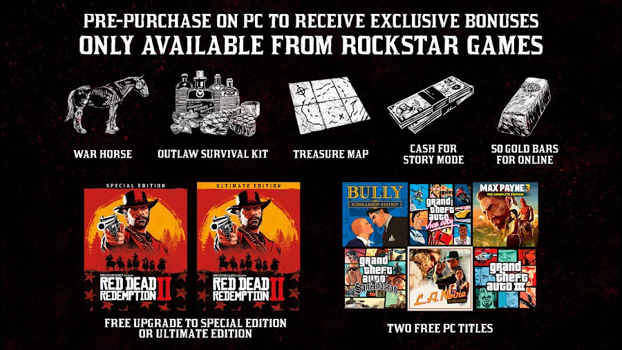 red dead redemption 2 pc version pre-order bonus rockstar games november 5 cash bonus gold bars outlaw survival kit war horse red dead online