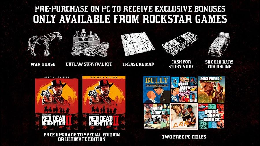 red dead redemption 2 pc version pre-order bonus rockstar games november 5 cash bonus gold bars outlaw survival kit war horse red dead online