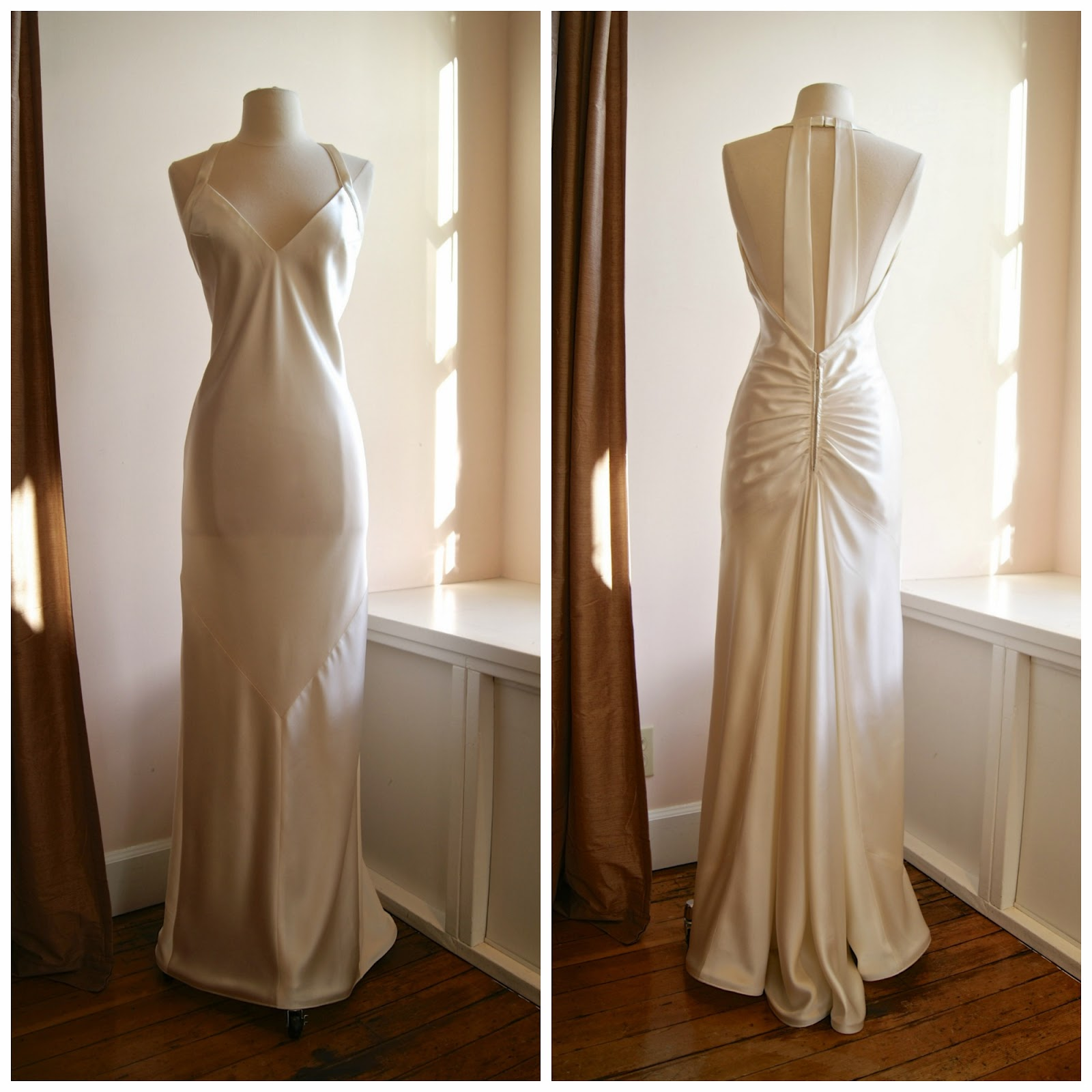 03 wedding dress I m so excited about this custom made s reproduction silk crepe bias cut wedding gown Made specially for us out of an old s dress pattern by a