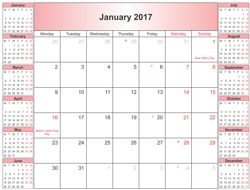 january 2017 printable calendar templates. Black Bedroom Furniture Sets. Home Design Ideas