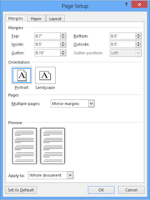 screenshot of the margins tab setup