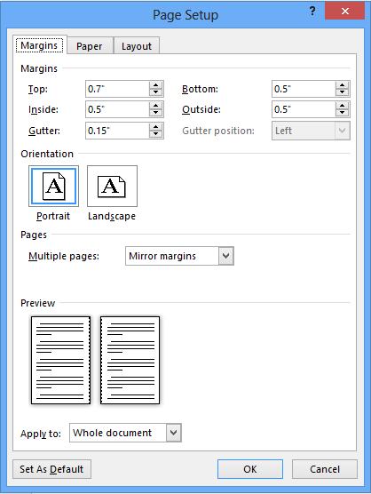 screenshot of the margins tab setup