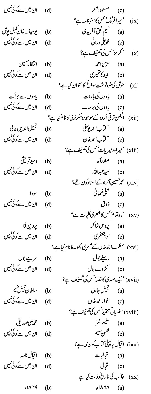 Mcqs Islamiat From Past Papers For Subject Specialist
